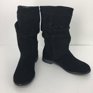 5.5 Toms Black Slouchy Serra Perforated Boots